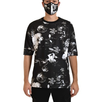 Twin Black T-Shirt Roses With Mask-Black