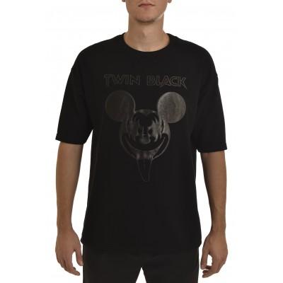 Twin Black Sweatshirt 3/4 Slv Mickey-Black