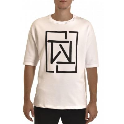 Twin Black Sweatshirt 3/4 Slv Monogram Logo-White