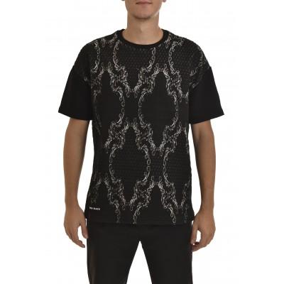 Twin Black Sweatshirt 3/4 Slv Embossment-Black/White