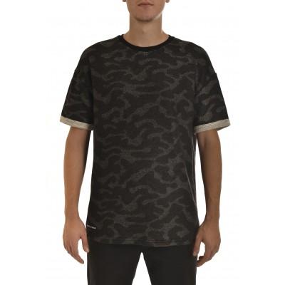 Twin Black T-Shirt 3/4 Slv Camouflage-Black/Grey