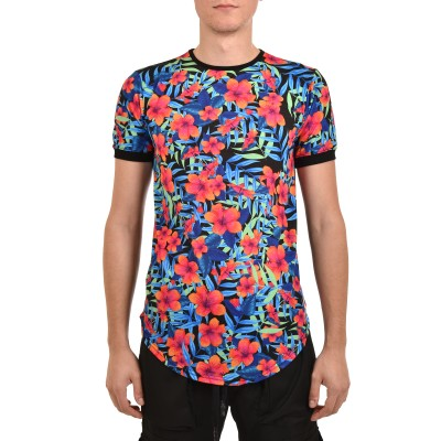 Twin Black T-Shirt Front Floral Neon-Black