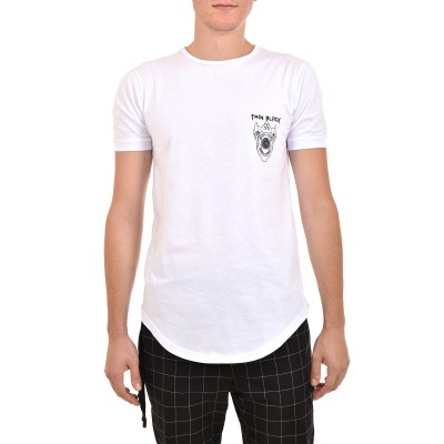 Twin Black T-Shirt Back Black Skull-White