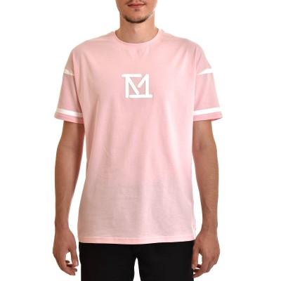 Twin Black T-Shirt Rubberised Chest Logo & Print Slv-Pink