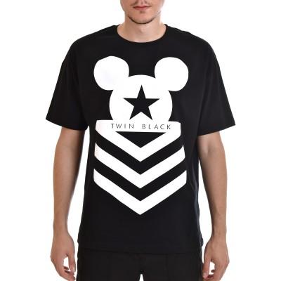 Twin Black T-Shirt Mickey Mouse Print-Black