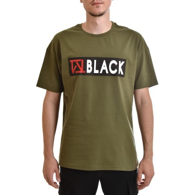 Twin Black T-Shirt Red Logo Print-Khaki