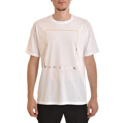 Twin Black T-Shirt Gold Square Logo Print-White