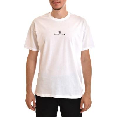 Twin Black T-Shirt Rubberised Logo-White