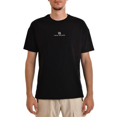 Twin Black T-Shirt Rubberised Logo-Black