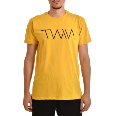 Twin Black T-Shirt Chest & Back Logo-Mustard