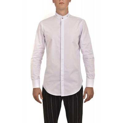 Twin Black Shirt Mao Collar Gold Buttons-White