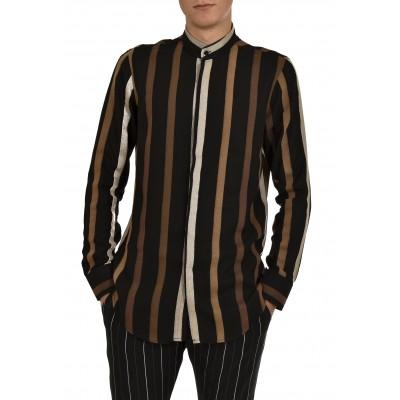Twin Black Shirt Mao Collar Striped-Black/Ecru/Brown