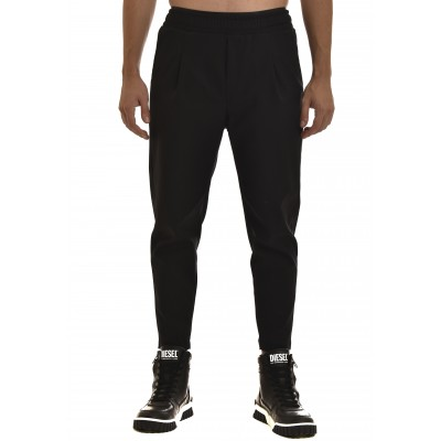Twin Black Pants Satin Front Pleats-Black