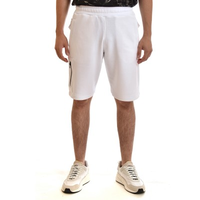 Twin Black Sweatshorts With Zip Pocket-White
