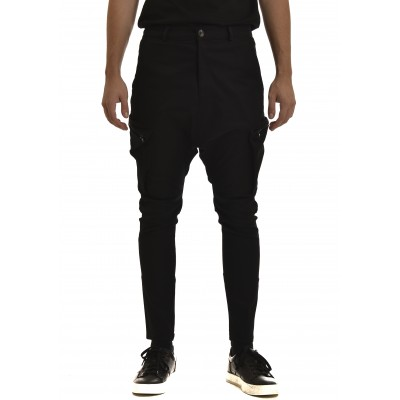 Twin Black Pants Baggy Zip-Pockets-Black