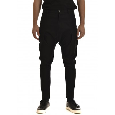 Twin Black Pants Baggy Pleats On Knees-Black