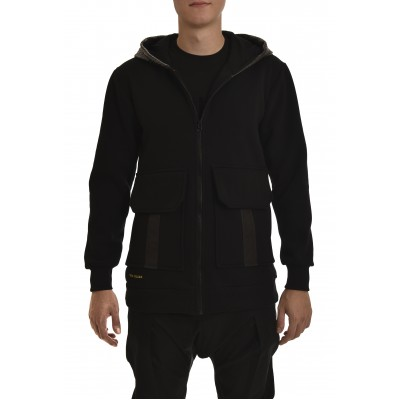 Twin Black Hoodie Zip Vegan Leather Hood & Back-Black