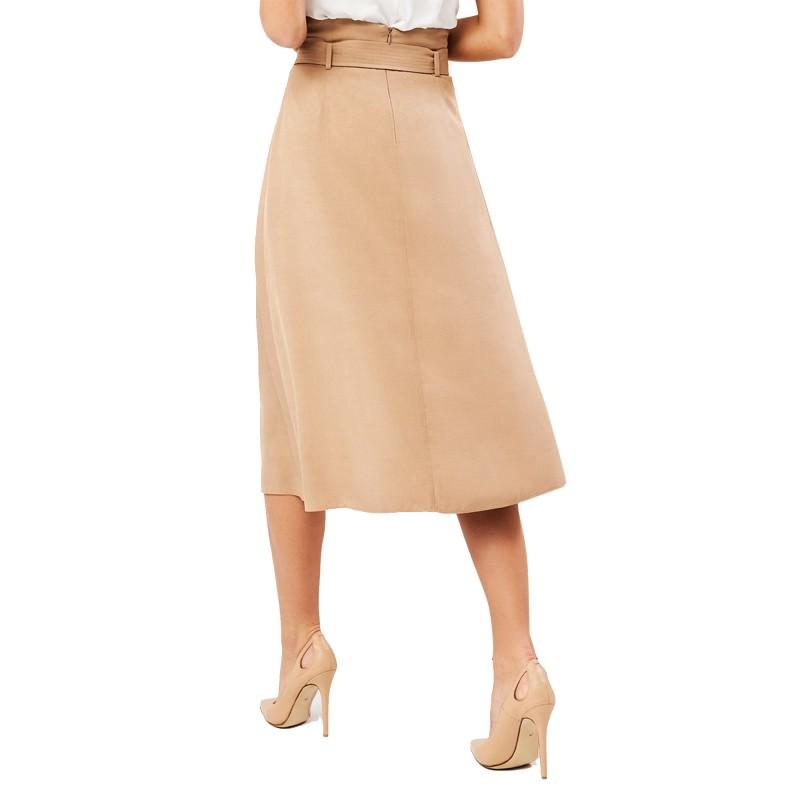 Forel Skirt Midi With Belt-Camel