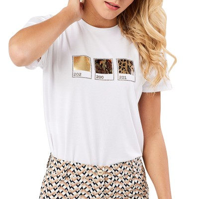 Forel T-Shirt With Animal Print-White