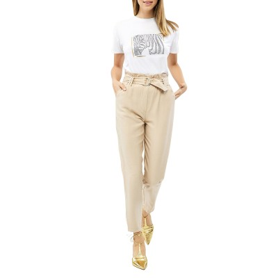 Forel Trousers High Waisted With Belt-Beige
