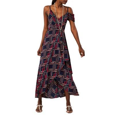 Forel Dress Maxi Wrap Patterned-Dark Blue