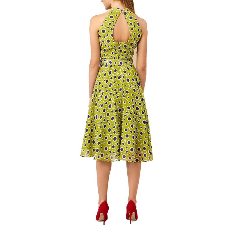 Forel Dress Midi Patterned All Over Dots With Belt-Light Green