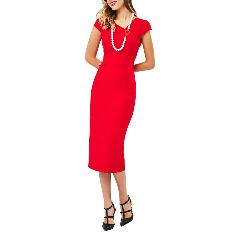 Forel Dress Pencil Midi-Red