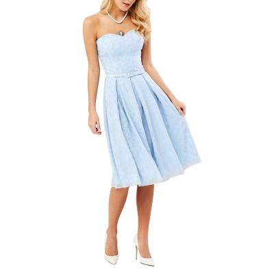 Forel Dress Strapless Embroidered-Light Blue