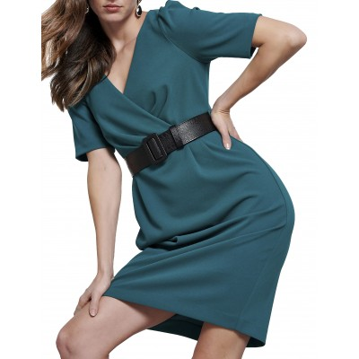 Bill Cost Dress Wrap With Belt-Green