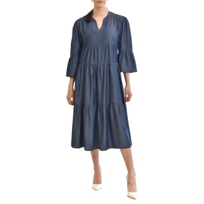 On Line Dress Denim Effect With Puffed Sleeves-Blue