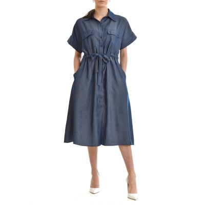 On Line Dress Denim Effect Button Up With Pockets & Waist Rope-Blue