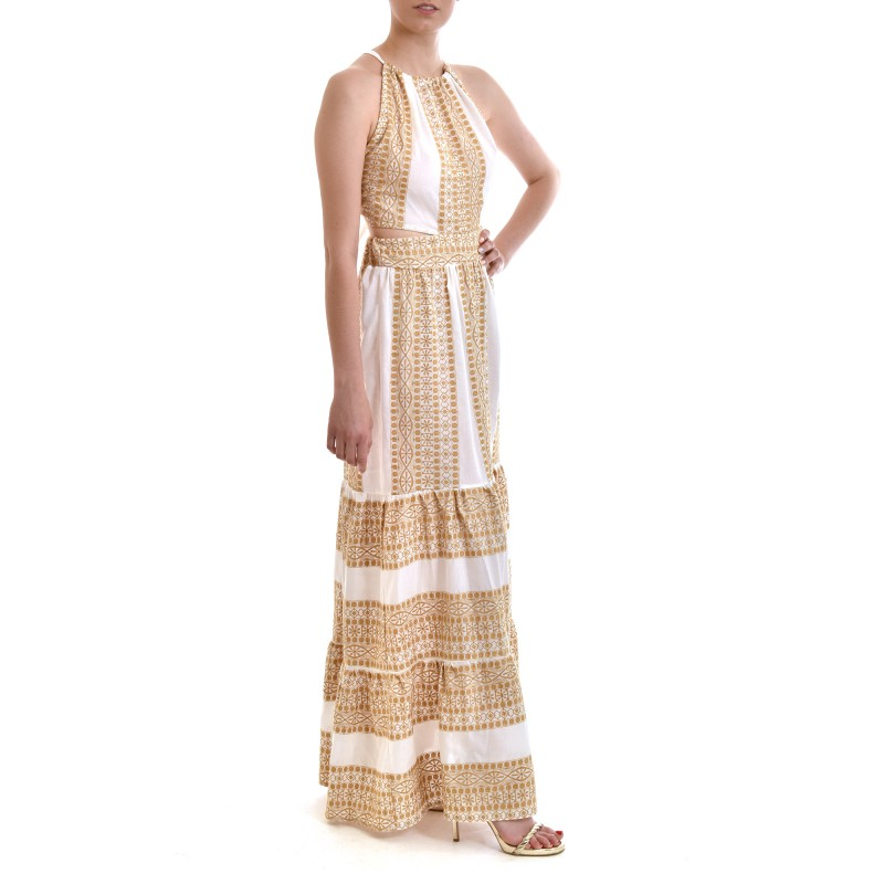 Mystery Dress Frilled With Open Back & Gold Embroidery-White/Gold