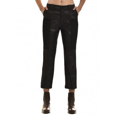 Milla Trousers Leather Effect-Black