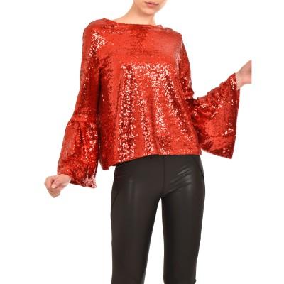 Teem Blouse Sequins Bell Sleeves-Red