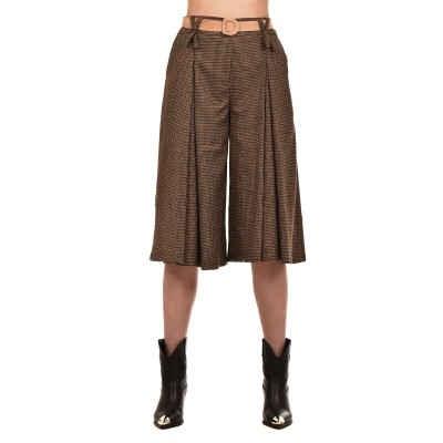 Teem Trousers Zip Cullote Checked & Belt-Brown