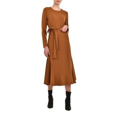 Teem Dress Elastic With Frill-Camel