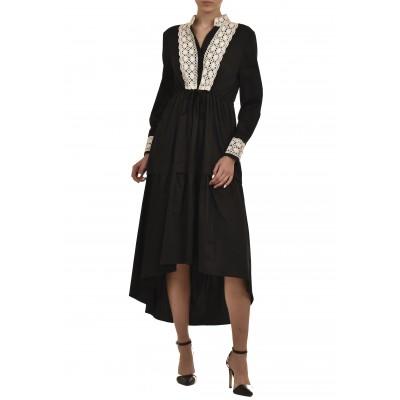 Teem Dress Poplin Asymmetric White Lace-Black