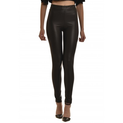 On Line Leggings Leather Effect-Black