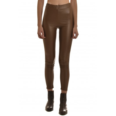 On Line Leggings Leather Effect-Tan