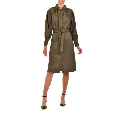Milla Dress Midi Quilted Collar & Cuff-Chaki