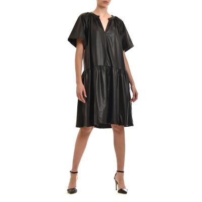Milla Dress Midi Faux Leather-Black