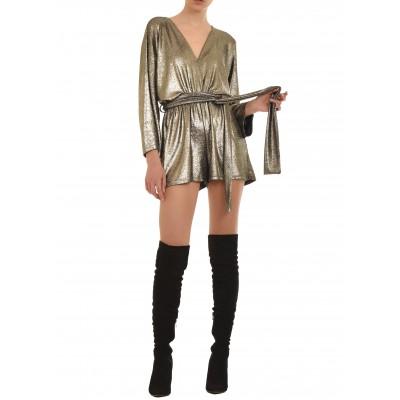 On Line Jumpsuit-Shorts Metallic Look-Silver