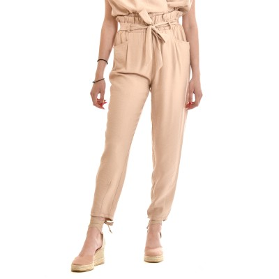 On Line Trousers High Waisted With Belt-Beige