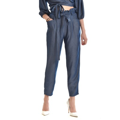 On Line Trousers High Waisted With Belt-Blue