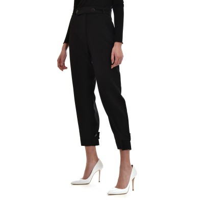 On Line Trousers Hight Waisted Belts With Buttons-Black