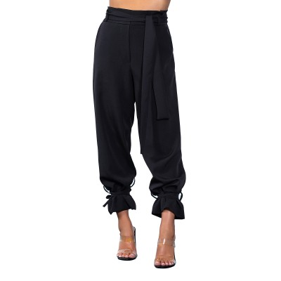 On Line Trousers High Waisted Hem With Rope-Black