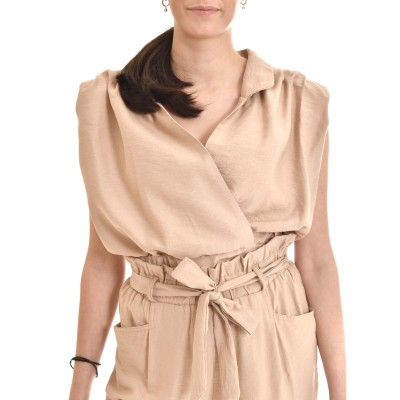 On Line Blouse Sleeveless Padded Shoulder-Beige