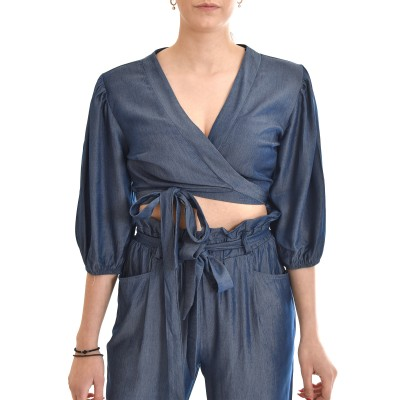 On Line Blouse With 1/2 Sleeves Elastic & Chest Tie-Blue