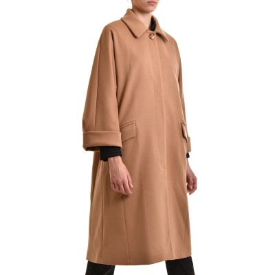 Milla Coat Long With Collar-Beige