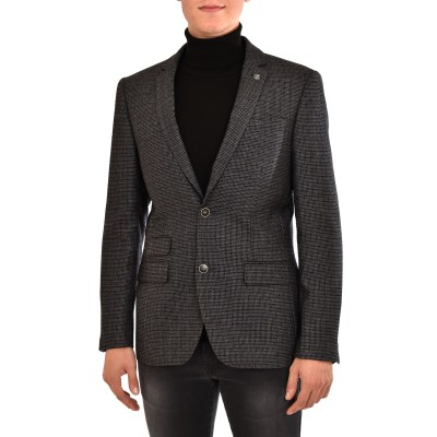 Sogo Blazer Checked With Pin-Grey